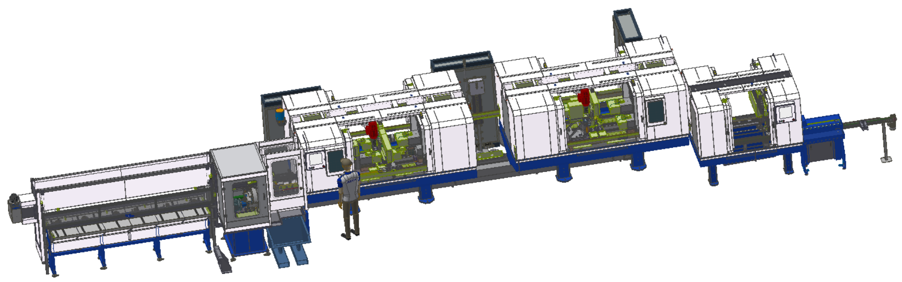 DEM Series: Hybrid special line Fully automatic Hybrid Special Line for bar and tube materials, configurable with 8 to 16 spindles and multiple machining operations